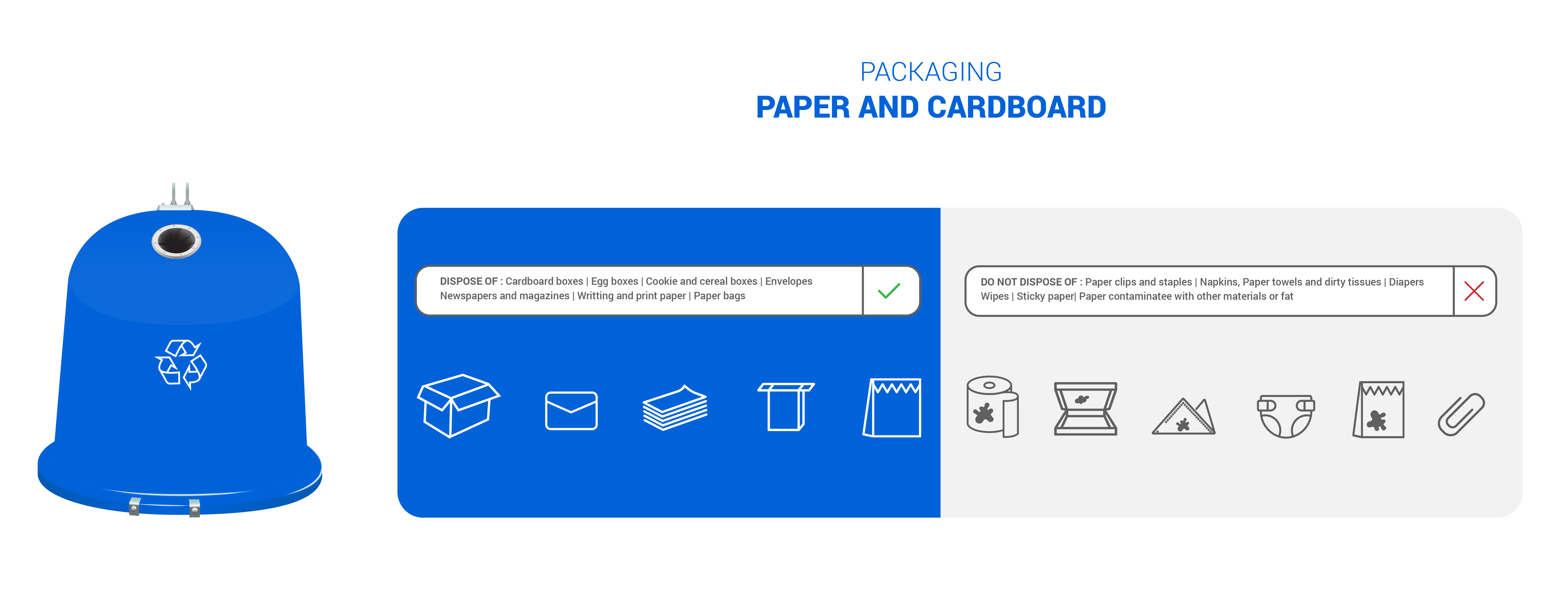 Blue recycling bin – paper and cardboard