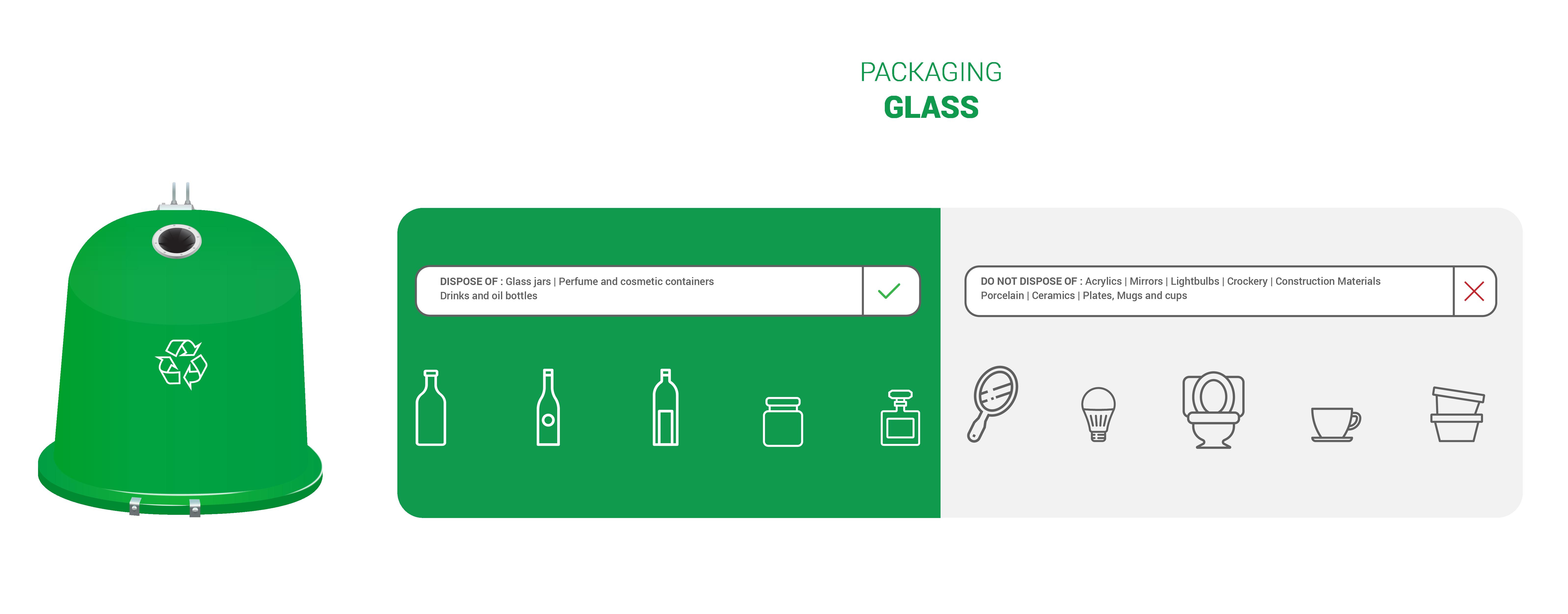 Green recycling bin – Glass